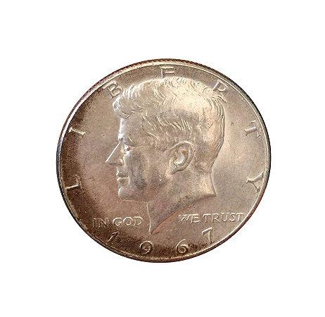 Moeda Antiga dos Estados Unidos Kennedy Half Dollar 1967