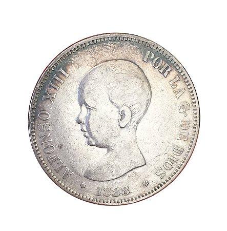 Moeda Antiga da Espanha 5 Pesetas 1888 (88) MP-M