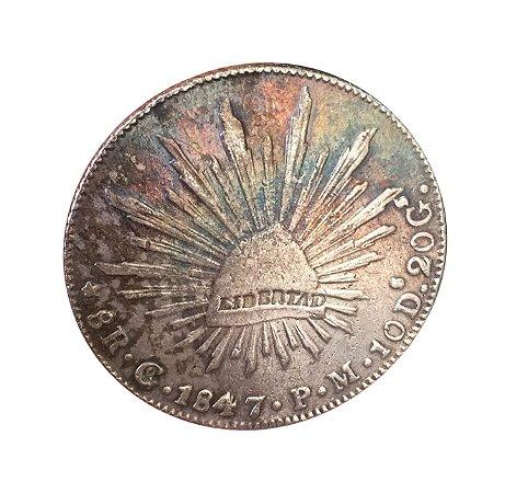 Moeda Antiga do México 8 Reales 1847 Go PM - Guanajuato