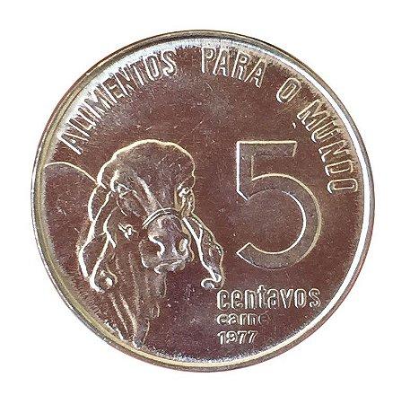 Moeda Antiga do Brasil 5 Centavos de Cruzeiro 1977 F.A.O - Alimentos para o Mundo (Carne)