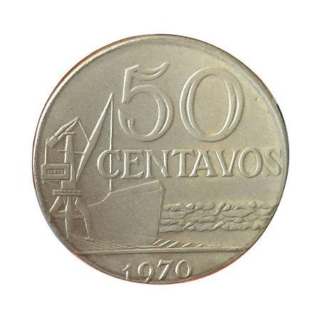 Moeda Antiga do Brasil 50 Centavos de Cruzeiro 1970 cunhada em disco de 20