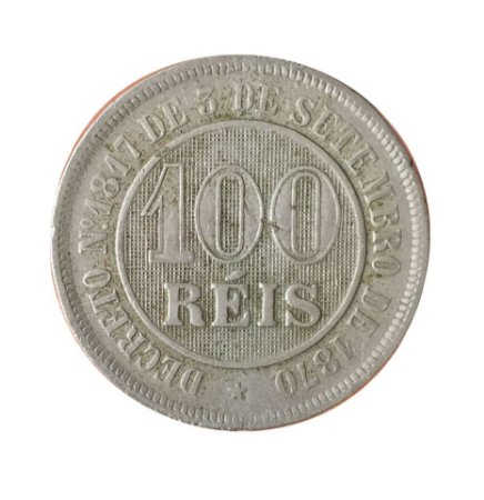Moeda Antiga do Brasil 100 Réis 1887
