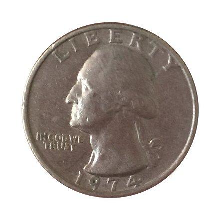Moeda Antiga dos Estados Unidos Washington Quarter 1974