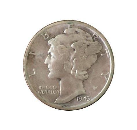 Moeda Antiga dos Estados Unidos One Dime 1943 S - Mercury Dime