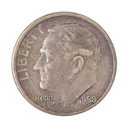 Moeda Antiga dos Estados Unidos One Dime 1958 - Roosevelt Dime