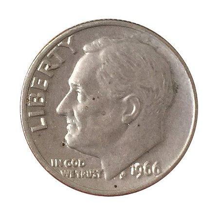 Moeda Antiga dos Estados Unidos One Dime 1966 - Roosevelt Dime