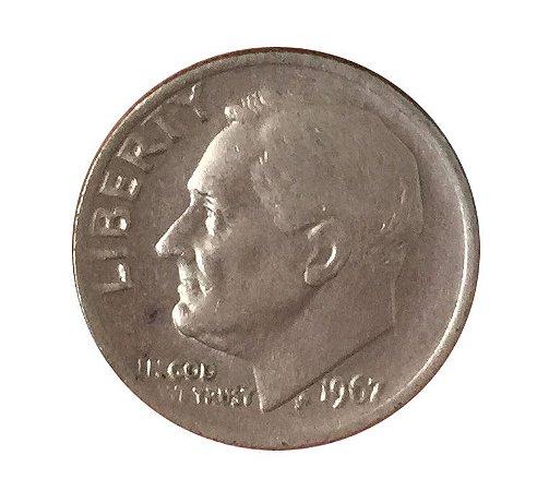 Moeda Antiga dos Estados Unidos One Dime 1967 - Roosevelt Dime