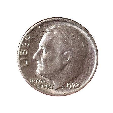 Moeda Antiga dos Estados Unidos One Dime 1972 - Roosevelt Dime
