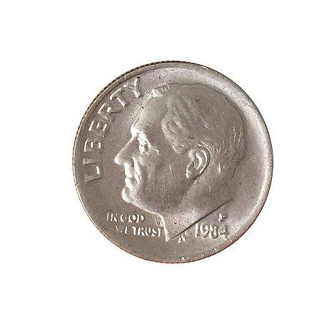 Moeda Antiga dos Estados Unidos One Dime 1984 P - Roosevelt Dime