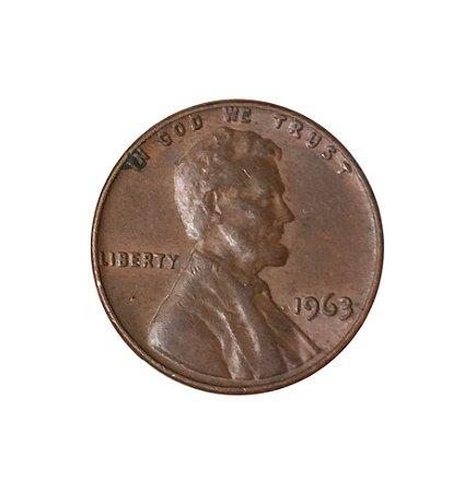 Moeda Antiga dos Estados Unidos One Cent 1963 - Lincoln