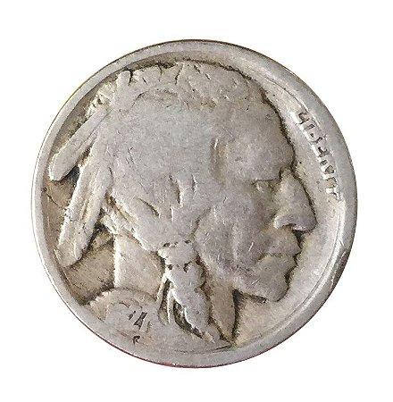 Moeda Antiga dos Estados Unidos Five Cents 1927 - Buffalo Nickel
