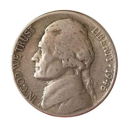 Moeda Antiga dos Estados Unidos Five Cents 1946 - Jefferson Nickel