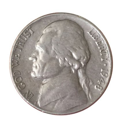 Moeda Antiga dos Estados Unidos Five Cents 1948 - Jefferson Nickel