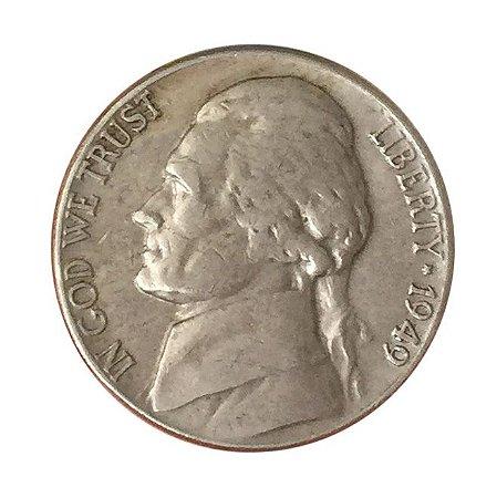 Moeda Antiga dos Estados Unidos Five Cents 1949 - Jefferson Nickel