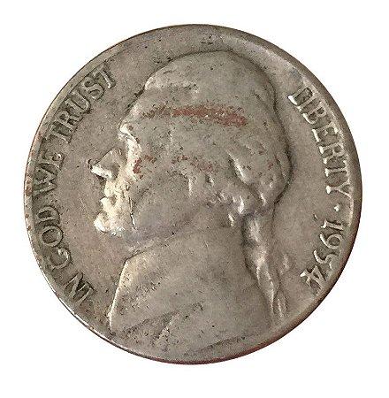 Moeda Antiga dos Estados Unidos Five Cents 1954 D - Jefferson Nickel