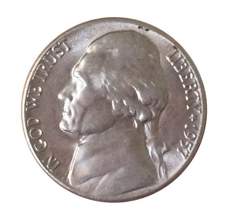 Moeda Antiga dos Estados Unidos Five Cents 1957 D - Jefferson Nickel