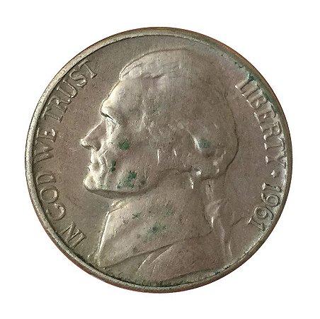 Moeda Antiga dos Estados Unidos Five Cents 1961 D - Jefferson Nickel