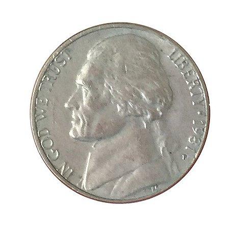 Moeda Antiga dos Estados Unidos Five Cents 1981 P - Jefferson Nickel