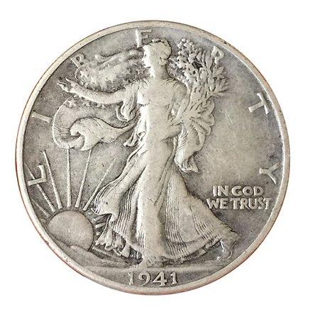 Moeda Antiga dos Estados Unidos Half Dollar 1941 - Walking Liberty