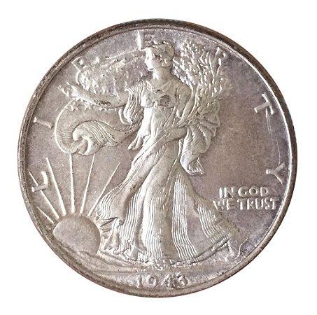 Moeda Antiga dos Estados Unidos Half Dollar 1943 - Walking Liberty