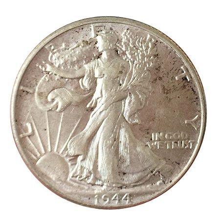 Moeda Antiga dos Estados Unidos Half Dollar 1944 - Walking Liberty