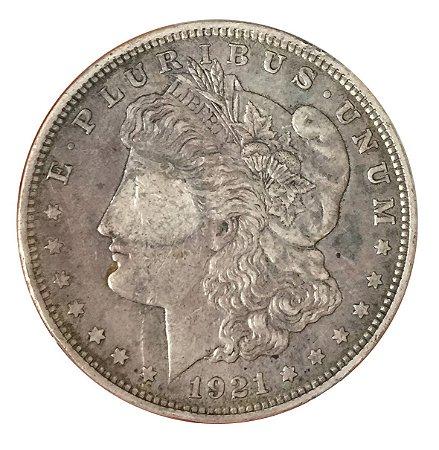 Moeda Antiga dos Estados Unidos Morgan Dollar 1921