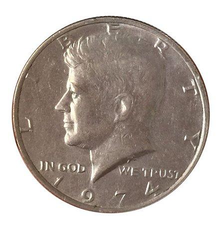 Moeda Antiga dos Estados Unidos Kennedy Half Dollar 1974