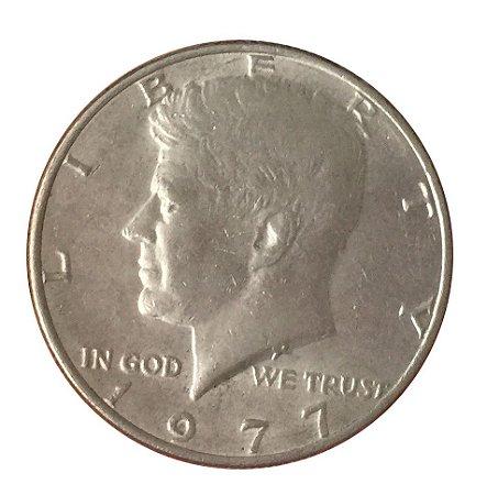 Moeda Antiga dos Estados Unidos Kennedy Half Dollar 1977