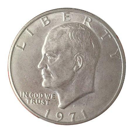 Moeda Antiga dos Estados Unidos Eisenhower Dollar 1971 D