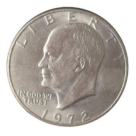 Moeda Antiga dos Estados Unidos Eisenhower Dollar 1972
