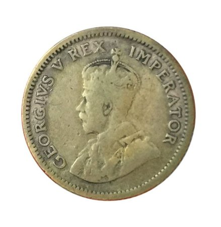 Moeda Antiga da África do Sul 6 Pence 1934
