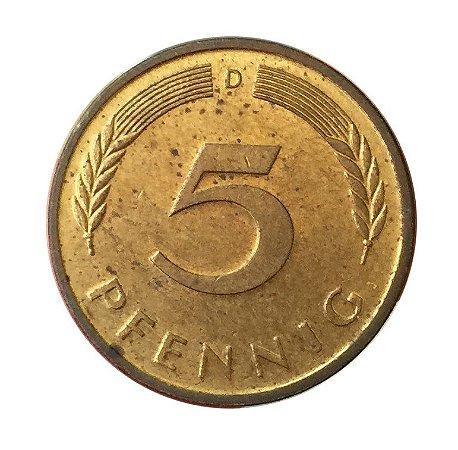 Moeda Antiga da Alemanha 5 Pfennig 1986 D