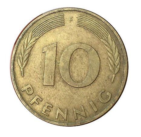 Moeda Antiga da Alemanha 10 Pfennig 1985 F