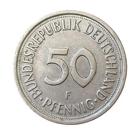 Moeda Antiga da Alemanha 50 Pfennig 1978 F