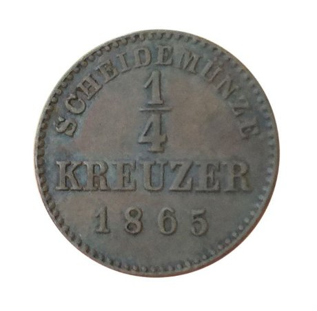 Moeda Antiga da Alemanha 1/4 Kreuzer 1865