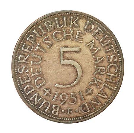 Moeda Antiga da Alemanha 5 Deutsche Mark 1951 F