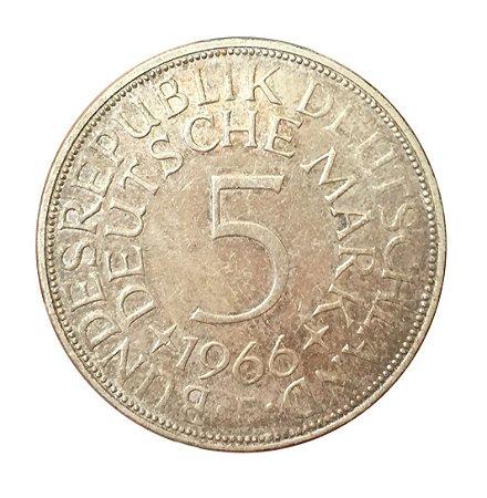 Moeda Antiga da Alemanha 5 Deutsche Mark 1966 F