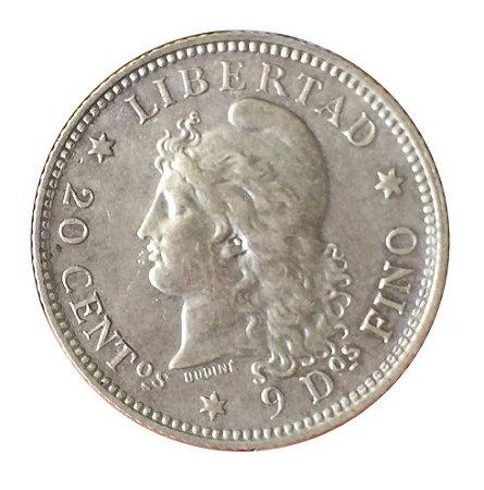 Moeda Antiga da Argentina 20 Centavos 1883