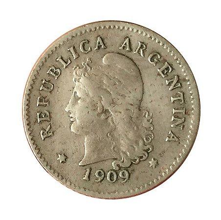 Moeda Antiga da Argentina 10 Centavos 1909
