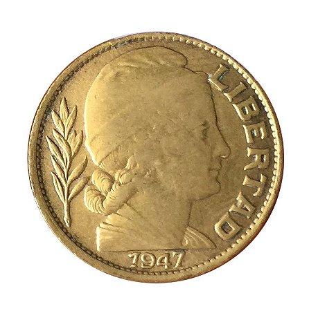 Moeda Antiga da Argentina 20 Centavos 1947