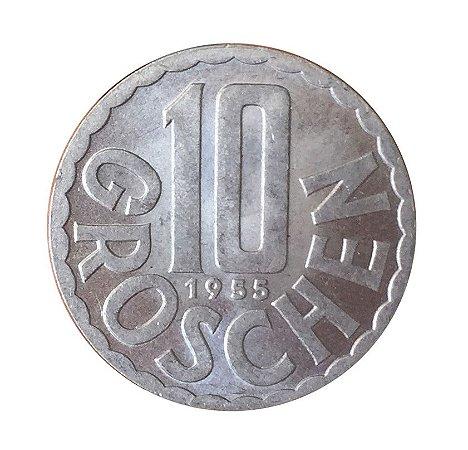 Moeda Antiga da Áustria 10 Groschen 1955