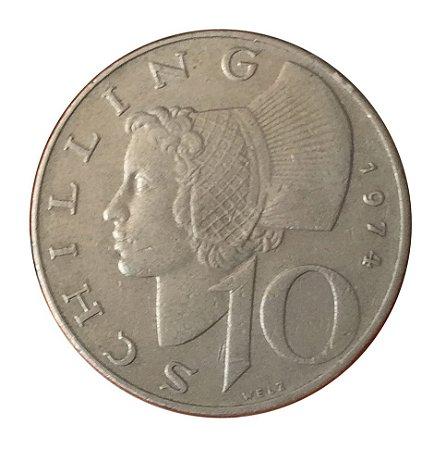 Moeda Antiga da Áustria 10 Schilling 1974