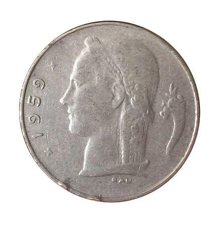 Moeda Antiga da Bélgica 1 Franc 1959 - BELGIQUE