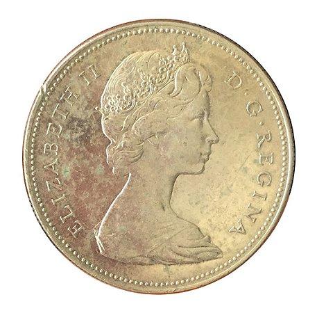 Moeda Antiga do Canadá Dollar 1965
