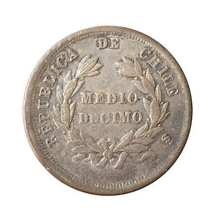 Moeda Antiga do Chile 1/2 Décimo 1874