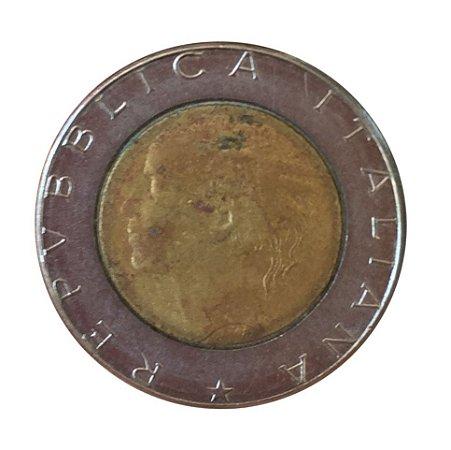 Moeda Antiga da Itália 500 Lire 1990 R
