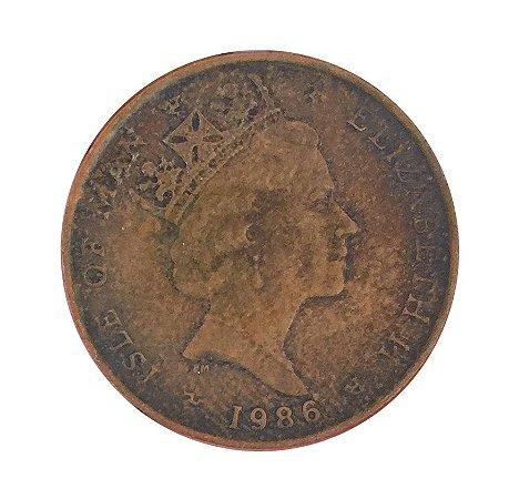 Moeda Antiga da Ilha do Homem Penny 1986