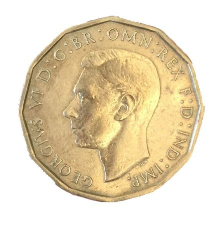 Moeda Antiga da Inglaterra Three Pence 1945
