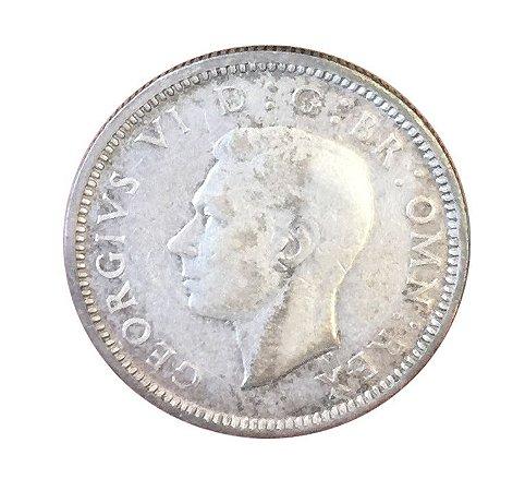 Moeda Antiga da Inglaterra Six Pence 1942