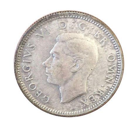 Moeda Antiga da Inglaterra Six Pence 1944